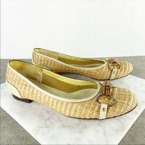 Gucci Bamboo Buckle Tan Rattan Woven Ballet Flat